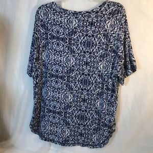 "Dress Barn Tops - Dress Barn db ""Sunday"" Blue and White Print Blouse"